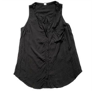 Old Navy Black Button Down Sleeveless Blouse Small